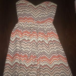 Short, Strapless Print Dress